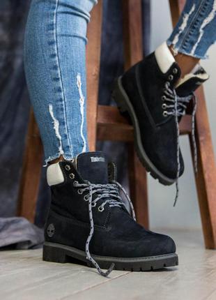 Зимние меховые ботинки тимберленд в черном цвете (осень-зима-весна)😍