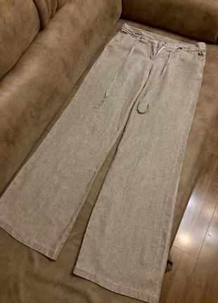 Шикарные натуральные льняные брюки