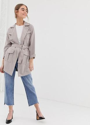 2019 стильный бежевый тренч asos new look куртка плащ тренчкот с поясом и карманами