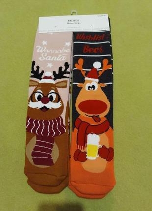 Носки теплые махровые новогодние махра теплі махрові новорічні набор комплект