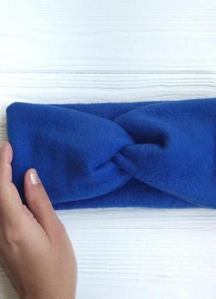 Синяя повязка на голову чалма из флиса