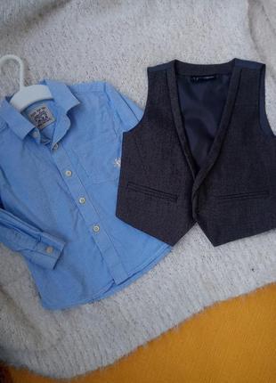 Рубашка нарядная голубая некст 12-18, 18-24мес