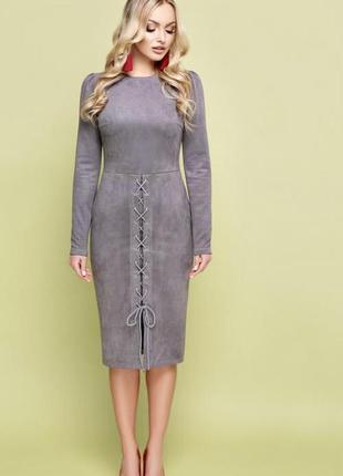 Замшевое нарядное платье с, м, л стрейч