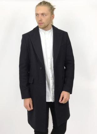 Topman шерсть шерстяное чёрное пальто