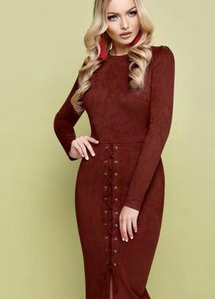 Замшевое нарядное платье м-л стрейч