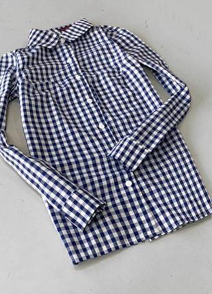 Женская рубашка в синюю клеточку