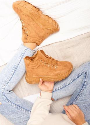 Ботинки кэмл коричневые рыжие на шнуровку на флисе демисезонные зимние