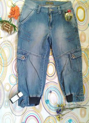 Бриджи капри шорты штаны джинсы укороченные коттоновые джинсовые широкие зауженные бойфренды