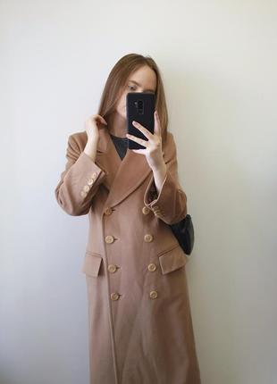 Бежеве шерстяне пальто міді