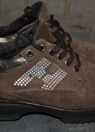 Демисезонные кроссовки-ботинки премиум класса hogan.38 р. замша.