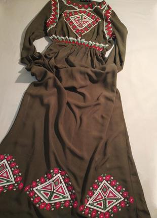 Платье макси в пол с орнаментом в этно бохо стиле очень красивое