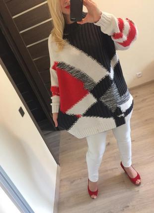 Разноцветный хлопковый удлиненный свитер от next