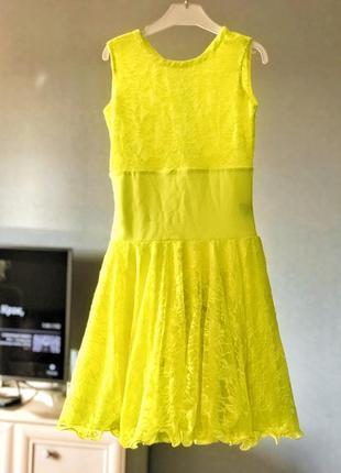 Платье бейсик для бальных танцев, лимонный цвет.