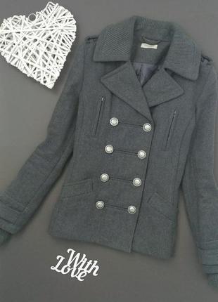 Пальто серое шерстяное косуха куртка sutherland