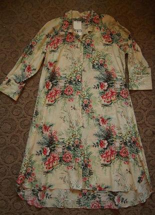 Платье zara xxl цветы перламутр оверсайз