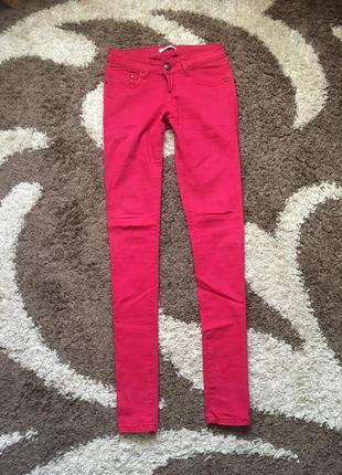 Рожеві брюки штани скини skinny