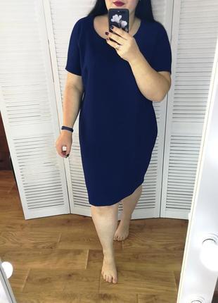 Синее платье-футляр, р. 22.