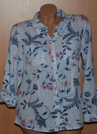 Блуза в цветочный принт бренда m&co  /100% хлопок/регулируемый рукав/