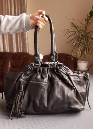 Кожаная большая черная сумка фирмы  mwr de sud