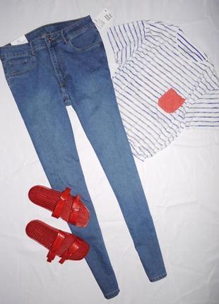 Хит !!!❤️❤️❤️ джинсы скини ( skinny denim ) h&m . синие высокая посадка