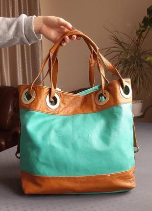Кожаная коричнево бирюзовая  сумка , италия