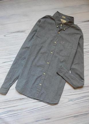 Красивая стильная мужская хлопковая рубашка от hollister оригинал. размер l.