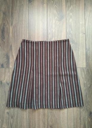 Юбка в полоску шерсть + вискоза imitz в винтажном стиле