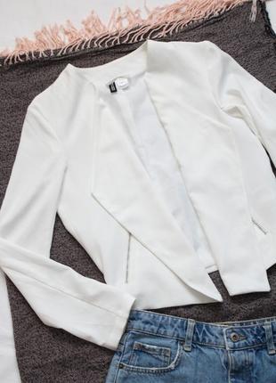 Белый жакет пиджак л 40 размер h&m