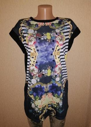 🔥🔥🔥красивая женская трикотажная футболка, кофта, стразы, камни river island🔥🔥🔥