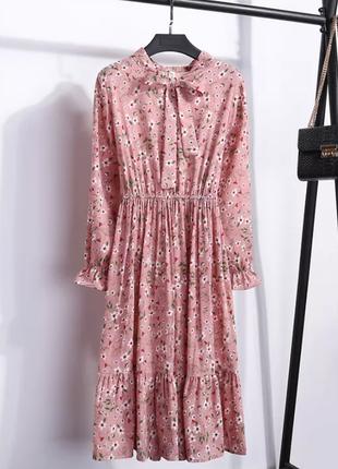 Персиково - розовое платье миди цветы персикове осіннє плаття міді квіти