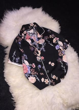 Рубашка пижамная пижамный стиль в цветы домашняя