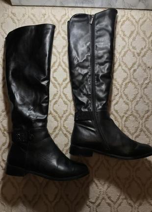 Сапоги ботфорты чёрные на зиму