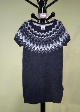 Вязаное серое платье h&m