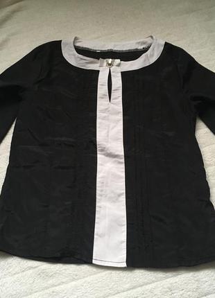 Блуза блузка чёрно белая бант декор