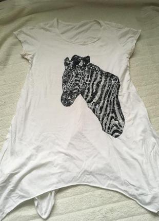 Футболка зебра белая чёрная паетки вышивка