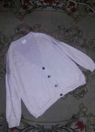 Тёплая,кремовая кофта-джемпер на пуговицах,с карманами,бол.18-24рр,new look