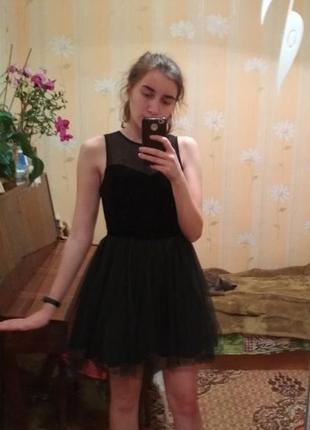 Платье бархатное с фатиновой юбкой велюр
