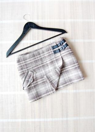 Теплая твидовая юбка vans на запах