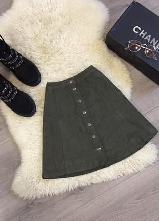 Шикарная замшевая юбка s