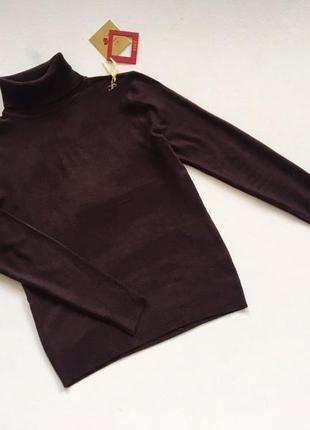 Новый стильный гольф натуральная ткань цвет шоколадный s-m