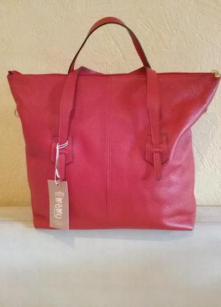 Итальянская кожаная сумка vera pelle red
