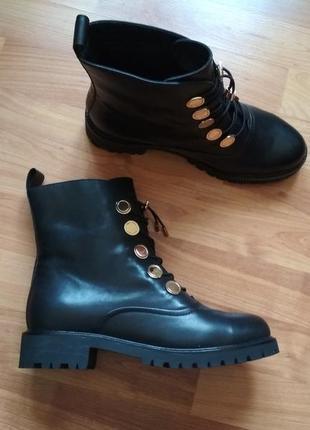 Новые ботинки демисезонные кожаные черные l.carvari