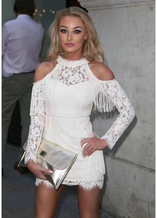 Бандажное платье herve leger с кружевом белое