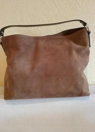 Замшевая коричневая сумка vera pelle