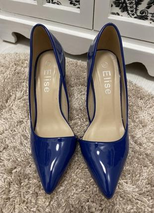 Синие лаковые туфли elise лодочки каблук шпилька
