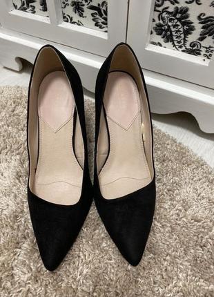 Чёрные лодочки mohito замшевые туфли каблук шпилька 36 размер