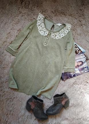 Тёплое платье трапеция с кружевным воротником/туника