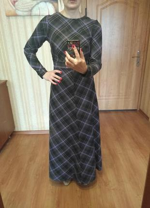 Теплое шерстяное платье в пол 44 s