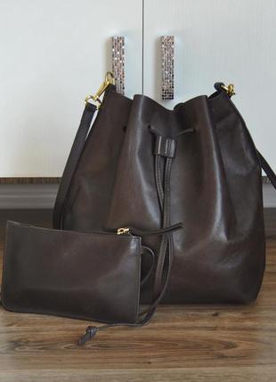Кожаная сумка мешок  + косметичка кошелек next / шкіряна сумка