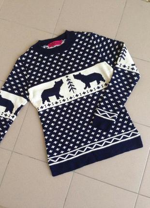 Свитшот новогодний теплий светр свитер boohoo с медведями